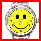 Yellow Smiley Face Smile Round Italian Charm Wrist Watch 515