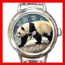 Cute Panda Animal Round Italian Charm Wrist Watch 516