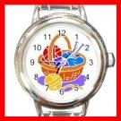 KNKITTING YARN NEEDLES CRAFTS Round Italian Charm Wrist Watch 519