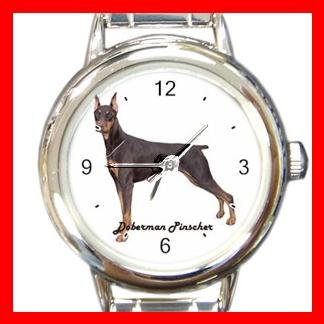 Doberman Pinscher Dog Animal Pet Round Italian Charm Wrist Watch 520