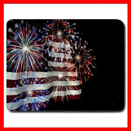 Fireworks American Flag Mouse Pad MousePad Mat 004