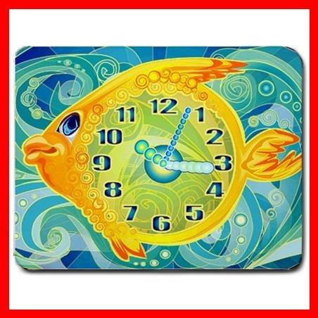 Golden Fish Clock Hobby Fun Mouse Pad MousePad Mat 025