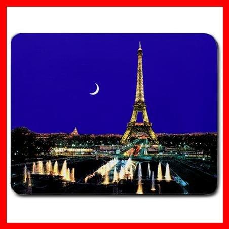 Paris Night Eiffel Tower Moon Mouse Pad MousePad Mat 069