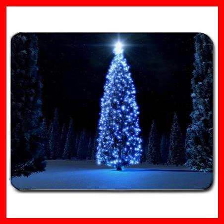 Blue Christmas Tree Light Mouse Pad MousePad Mat 080