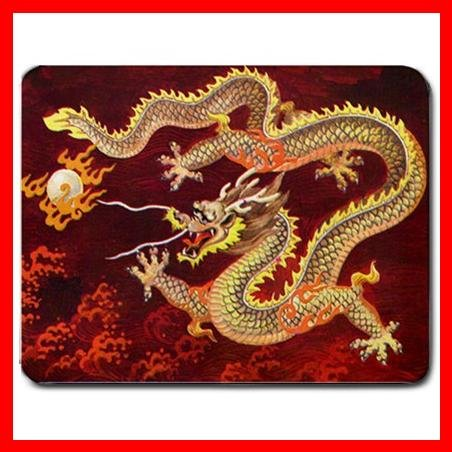 Chinese Dragon Red Myth Fan Mouse Pad MousePad Mat 083