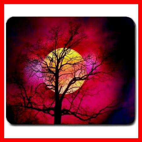 Sunset Tree Moon Red Scenery Mouse Pad MousePad Mat 244