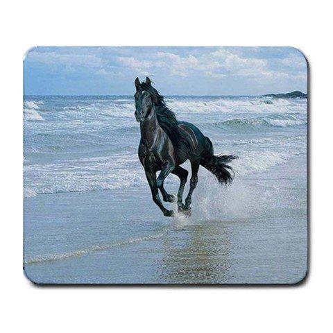 Black Horse Running on Beach Mouse Pad MousePad Mat 252