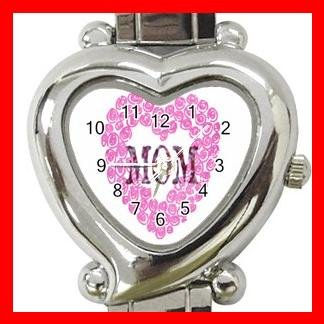 MOM WITH ROSE Pink Love Mother Italian Charm Wrist Watch 035