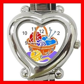 KNITTING LIAYARN NEEDLES CRAFTS Italian Charm Wrist Watch 045