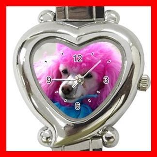 Pink Hair Poodle Dog Pet Hobby Italian Charm Wrist Watch 088