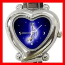 Blue Music Note Magic Fun Italian Charm Wrist Watch 096