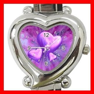 Purple Heart Love Heart Italian Charm Wrist Watch 112