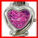 Pink Tiger Print Animal Heart Italian Charm Wrist Watch 124