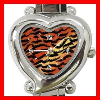 Tiger Skin Print Animal Heart Italian Charm Wrist Watch 130