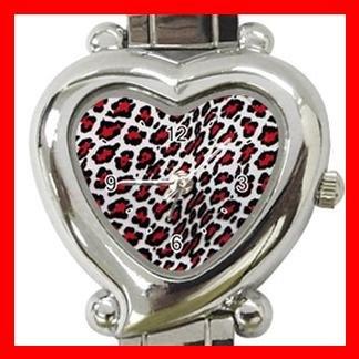 Red Leopard Print Animal Heart Italian Charm Wrist Watch 131