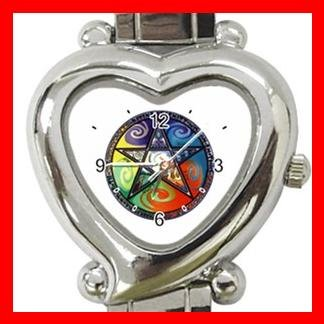Pentagram Pentacle Rainbow Heart Italian Charm Wrist Watch 134