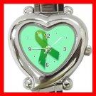 Green Ribbon Heart Italian Charm Wrist Watch 135