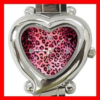 PINK LEOPARD Print Animal Heart Italian Charm Wrist Watch 136