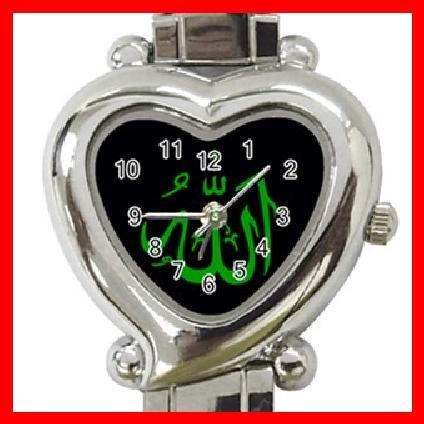 ALLAH GOD ISLAMIC Green Arabic Heart Italian Charm Wrist Watch 137