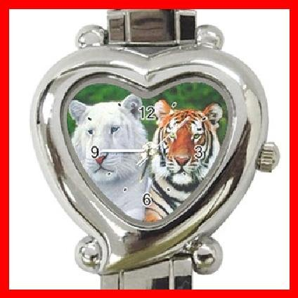 Brothers Albino and Bengal Tigers Heart Italian Charm Wrist Watch 140