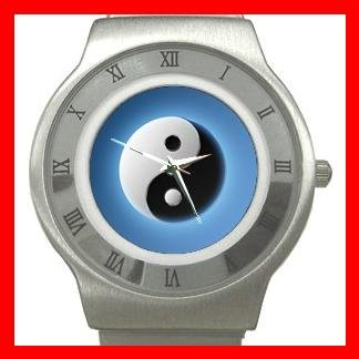 Blue Yin Yang Fortune Symbol Stainless Steel Wrist Watch Unisex 003