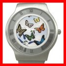 Butterflies Fly Insect Stainless Steel Wrist Watch Unisex 004