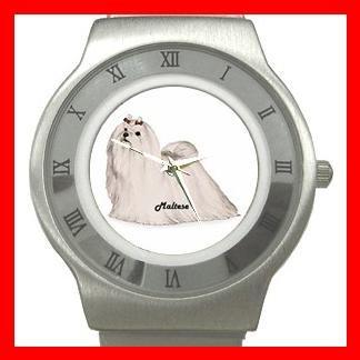 Maltese Dog Pet Animal Stainless Steel Wrist Watch Unisex 006