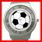 Sport Soccer Ball Game Stainless Steel Wrist Watch Unisex 008