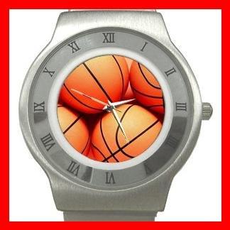 Sport Basketball Balls Game Stainless Steel Wrist Watch Unisex 010