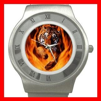 Bengal Tiger Jumping Flames Animal Stainless Steel Wrist Watch Unisex 020