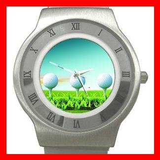 Golf Balls Sports Game Stainless Steel Wrist Watch Unisex 026