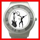 Rhythmic Guitar Dance Sports Stainless Steel Wrist Watch Unisex 028