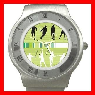 Tennis Playing Sports Game Stainless Steel Wrist Watch Unisex 029