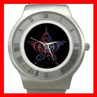 Wicca Pentagram Dragons Myth Stainless Steel Wrist Watch Unisex 034