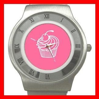 Pink Cup Cakes Dessert Stainless Steel Wrist Watch Unisex 035