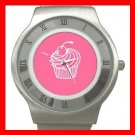 Pink Cup Cakes Dessert Stainless Steel Wrist Watch Unisex 035