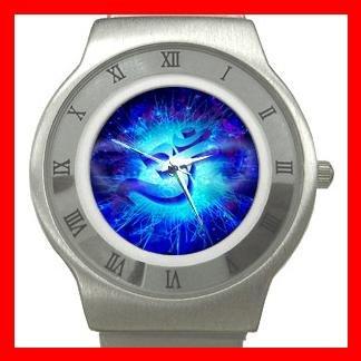 OM Symbol Blue Infinity Stainless Steel Wrist Watch Unisex 038