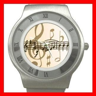 Music Note Magic Hobby Stainless Steel Wrist Watch Unisex 039