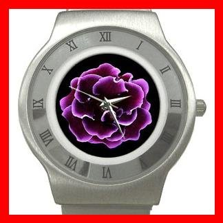 Purple Gloxinia Flowers Stainless Steel Wrist Watch Unisex 047