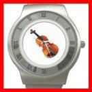 Violin Music Instrument Hobby Stainless Steel Wrist Watch Unisex 051