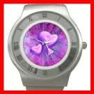 Purple Heart Love Hobby Stainless Steel Wrist Watch Unisex 057