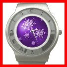 Christmas Purple Snow Flakes Stainless Steel Wrist Watch Unisex 058