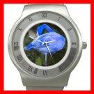 Blue Flamingo Bird Stainless Steel Wrist Watch Unisex 062