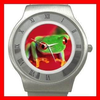 Red Eye Tree Frog Stainless Steel Wrist Watch Unisex 063
