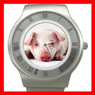 Cute Pig Fortune Animal Stainless Steel Wrist Watch Unisex 064