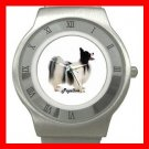 Papillon Pet Dog Animal Stainless Steel Wrist Watch Unisex 065