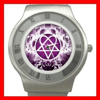 Pink Heartagram Hobby Fun Stainless Steel Wrist Watch Unisex 070
