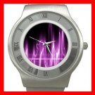 Wave Purple Light Fun Stainless Steel Wrist Watch Unisex 071