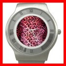 PINK LEOPARD Print Hobby Fun Stainless Steel Wrist Watch Unisex 072