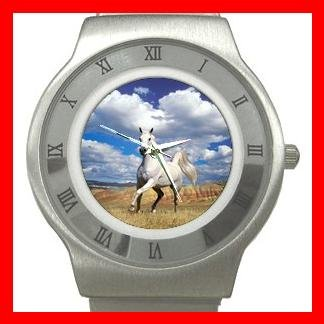 Art Summer Horse Blue Sky Stainless Steel Wrist Watch Unisex 077